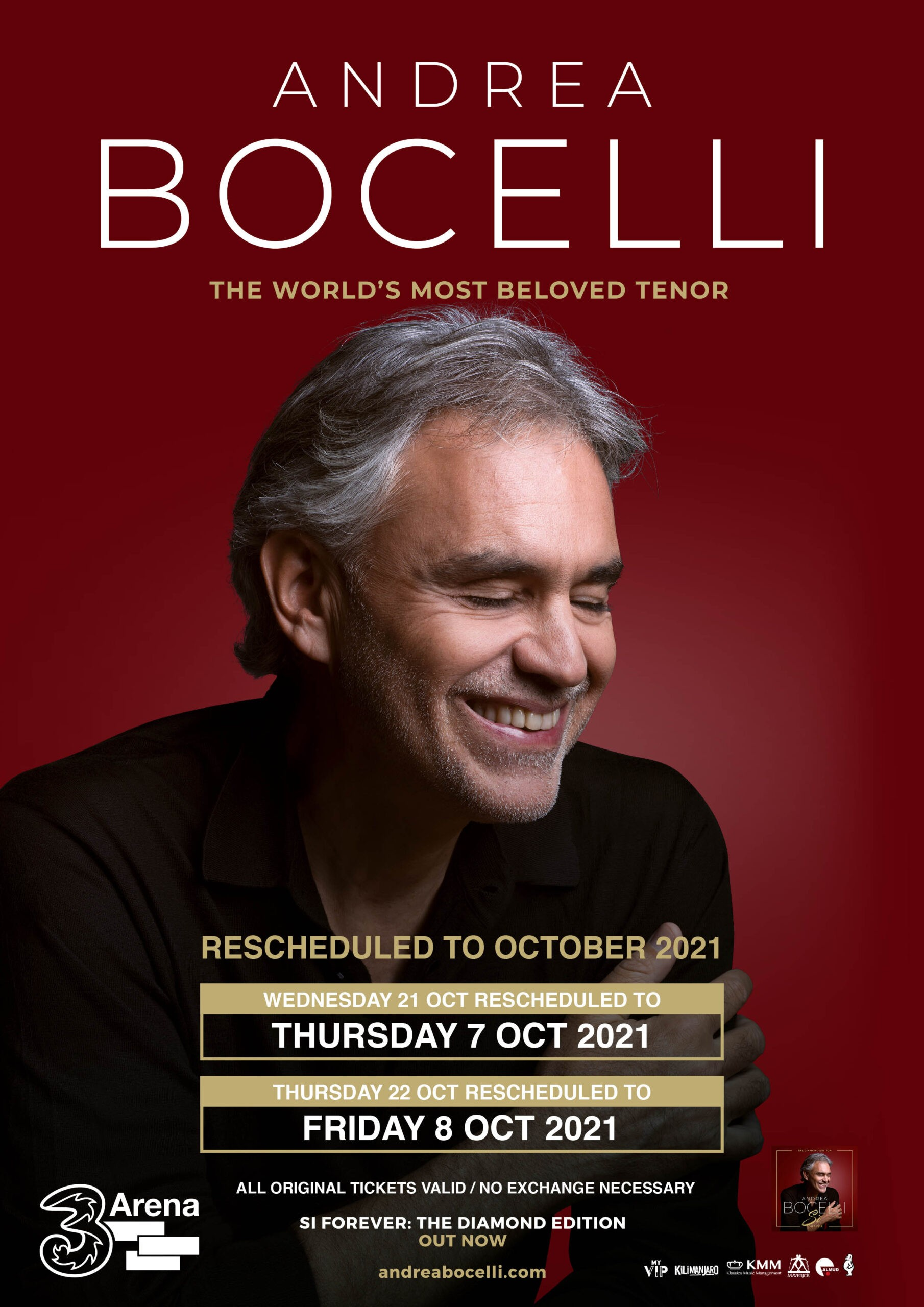 ANDREA BOCELLI CONFIRMS NEW ALBUM AND EXTRA TICKETS RELEASED FOR SALE FOR 3ARENA CONCERTS