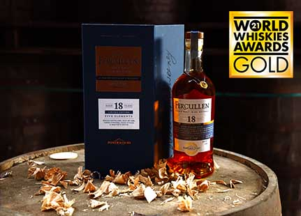 """Powerscourt Distillery wins a World Whiskies Gold in the highly competitive Single Malt category for Fercullen """"Five Elements"""" an 18-Year-Old Single Malt limited release"""