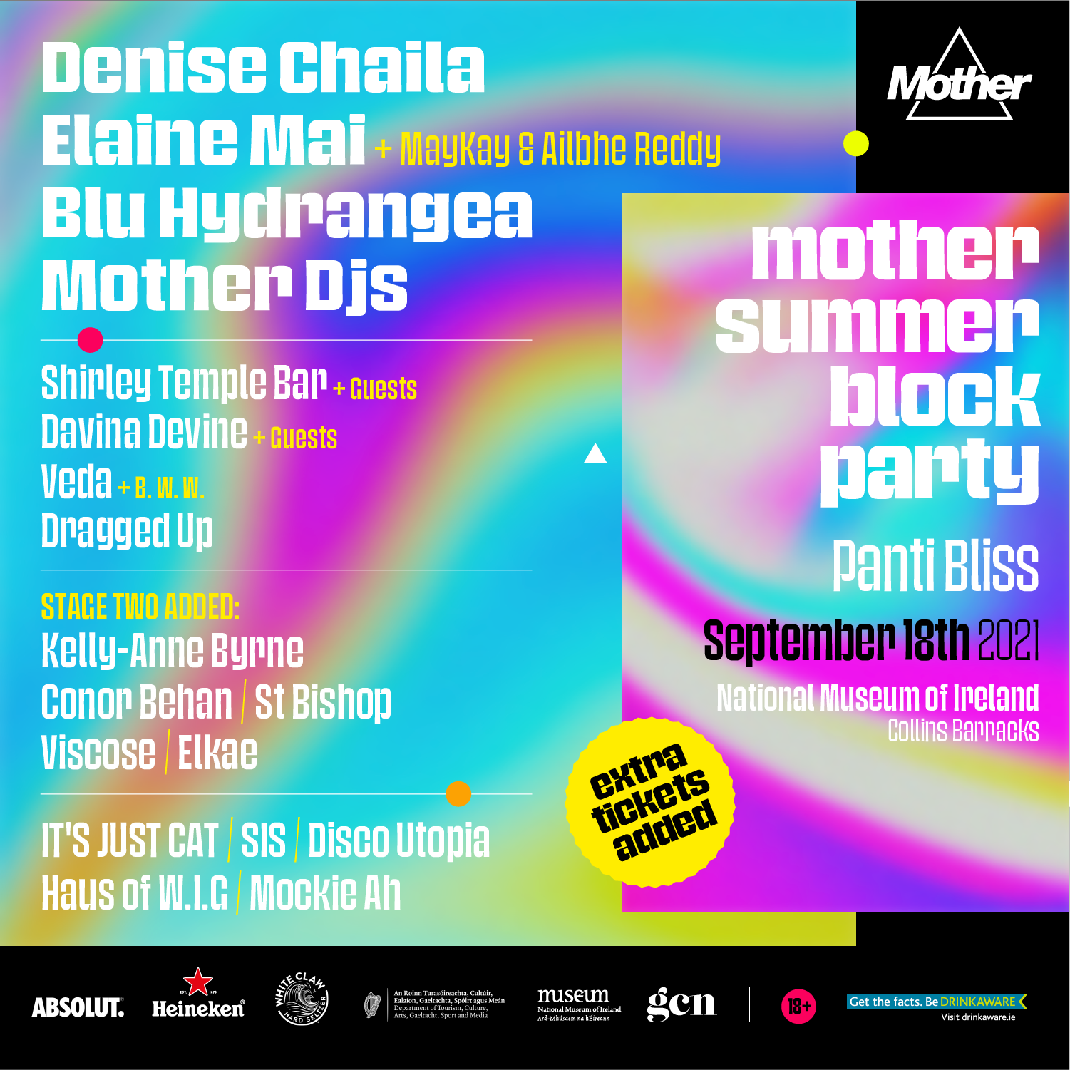 A return to festivals, as Mother presents their sensational Summer Block Party.   Celebrating the best in Queer and Irish talent, this end-of-summer block party is the first BIG bash of 2021!