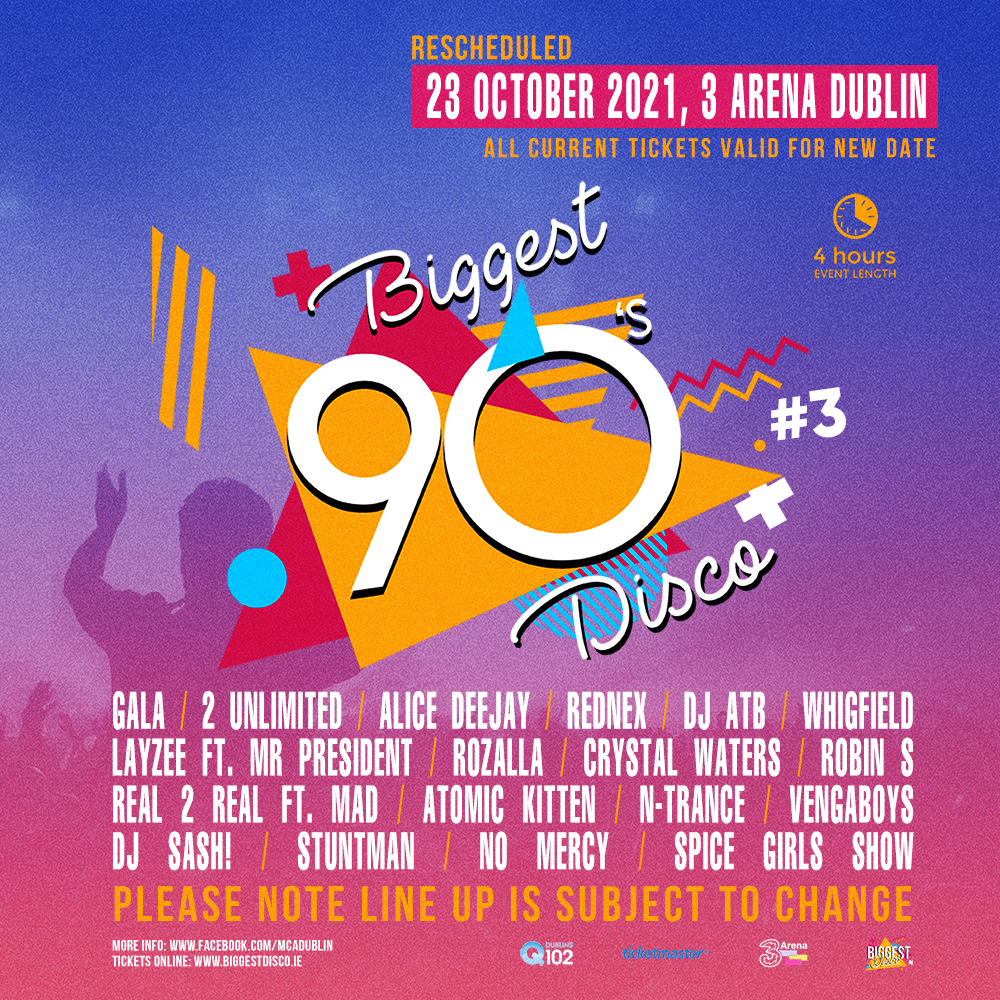 Party Like It's 1999: Ireland's Biggest 90's Disco announced as First Major 3Arena Gig Post-Lockdown